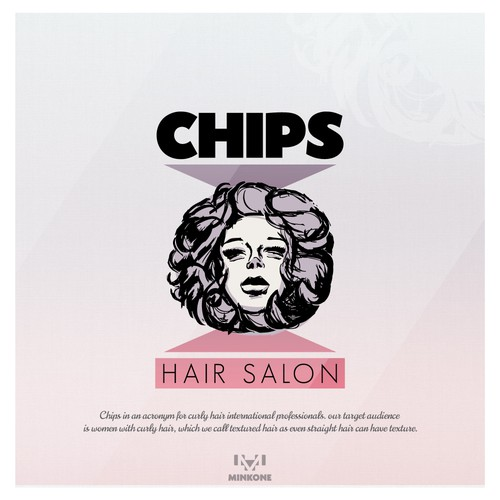 A logo concept for a hair salon specialized in the treatment of curly hair.