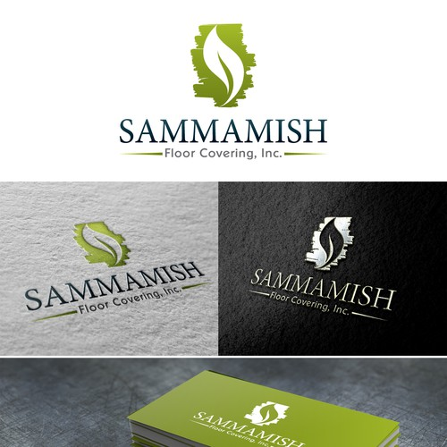 logo and business card for Sammamish Floor Covering, Inc.