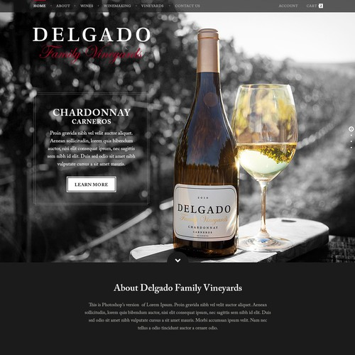 Create Delgado Family Vineyard website