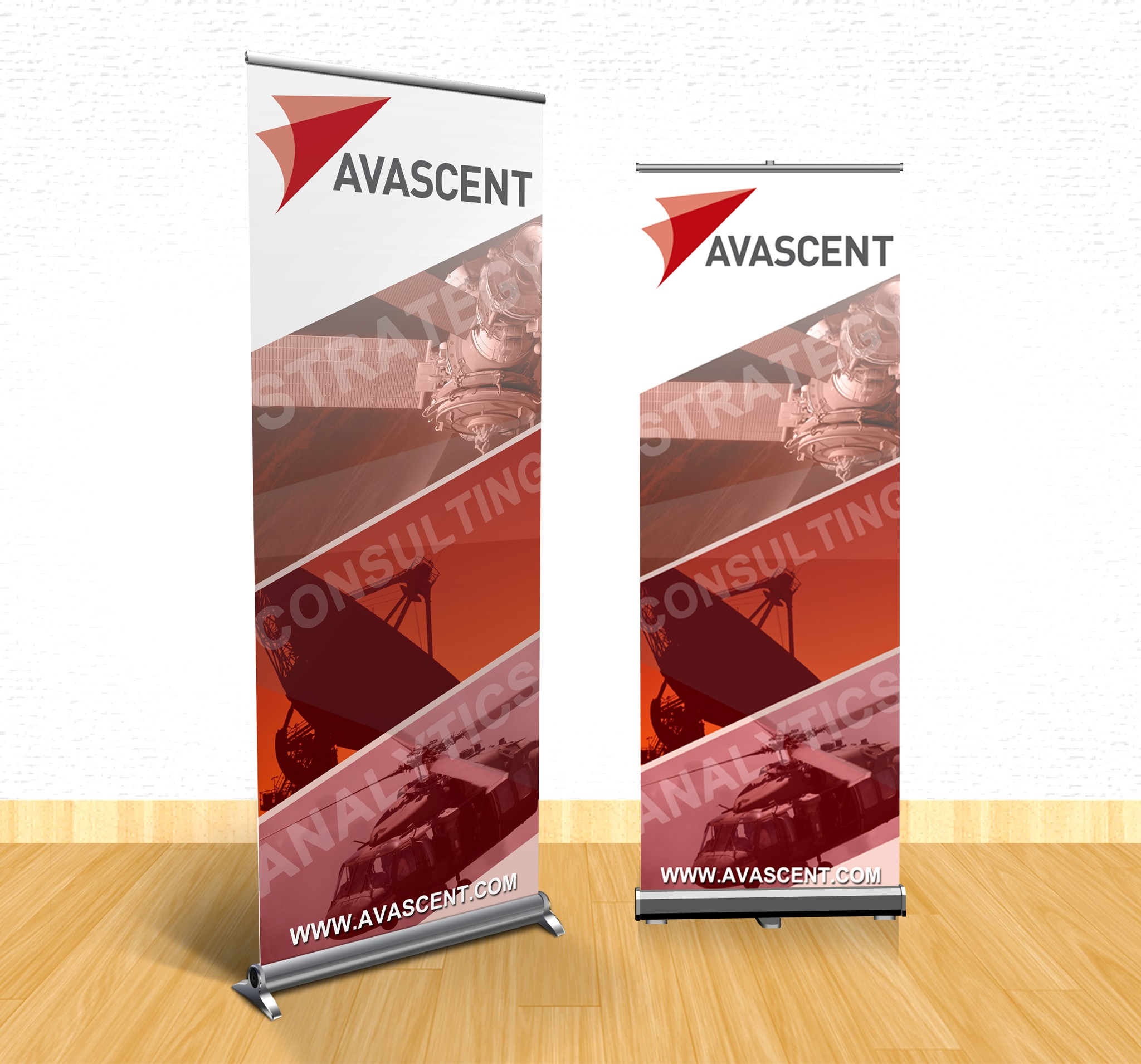 Create a clean, modern trade show banner for an defense & aerospace consulting firm