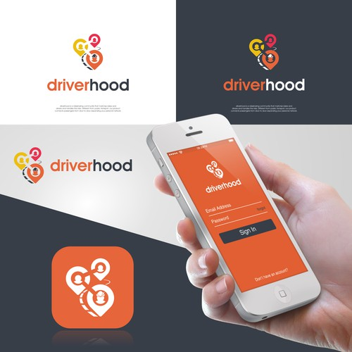 Ridesharing app logo design and social media