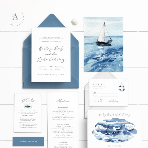 Sea Inspired Wedding Cards