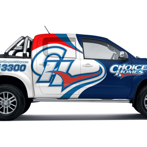 Toyota truck wrap fro Choice homes