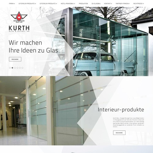 redesign for our website http://www.kurth-glas.ch
