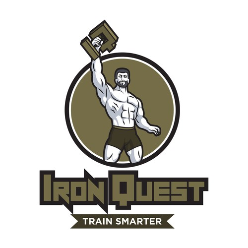 Design a muscular logo fit for a professional bodybuilder
