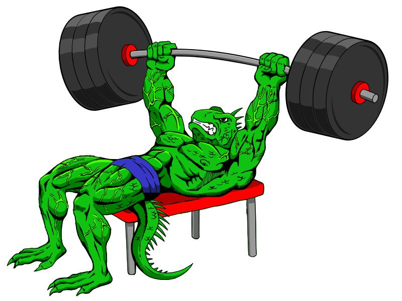Design me a bodybuilder lizard