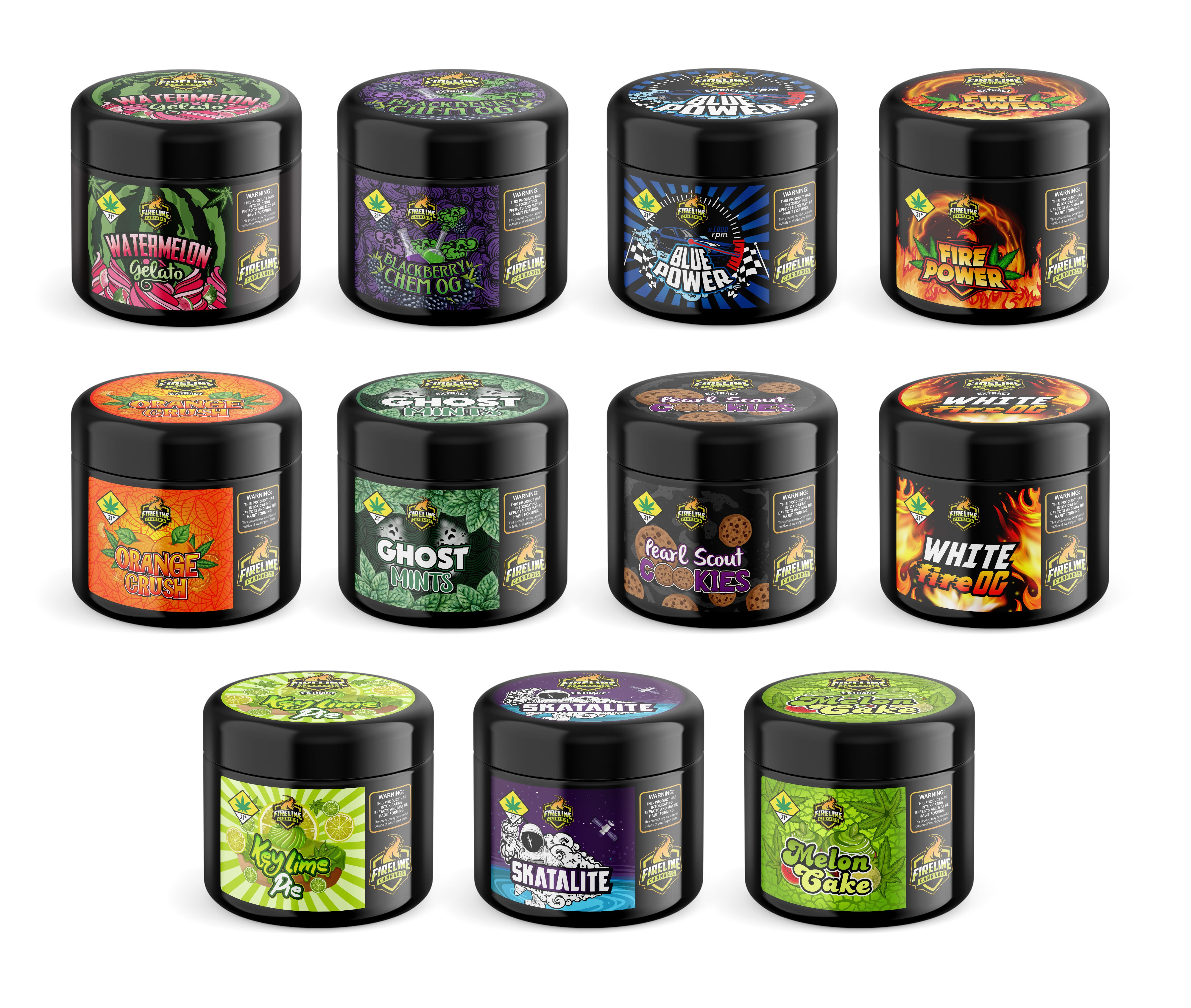 10 series concentrate and flower label design