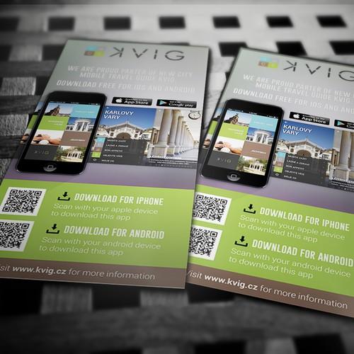 Promotion flyer for new travel mobile application KVIG