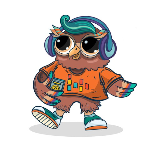 Owl with headphones - character concept