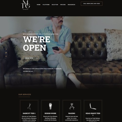 Classy website for a barber shop