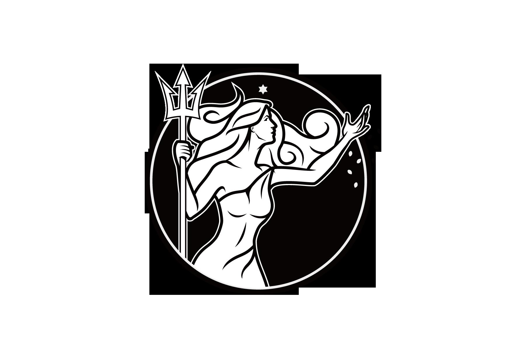 Organic farm logo of a female goddess planting seeds