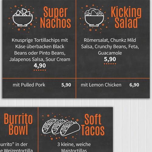 Super cool menu board for German burrito take out.