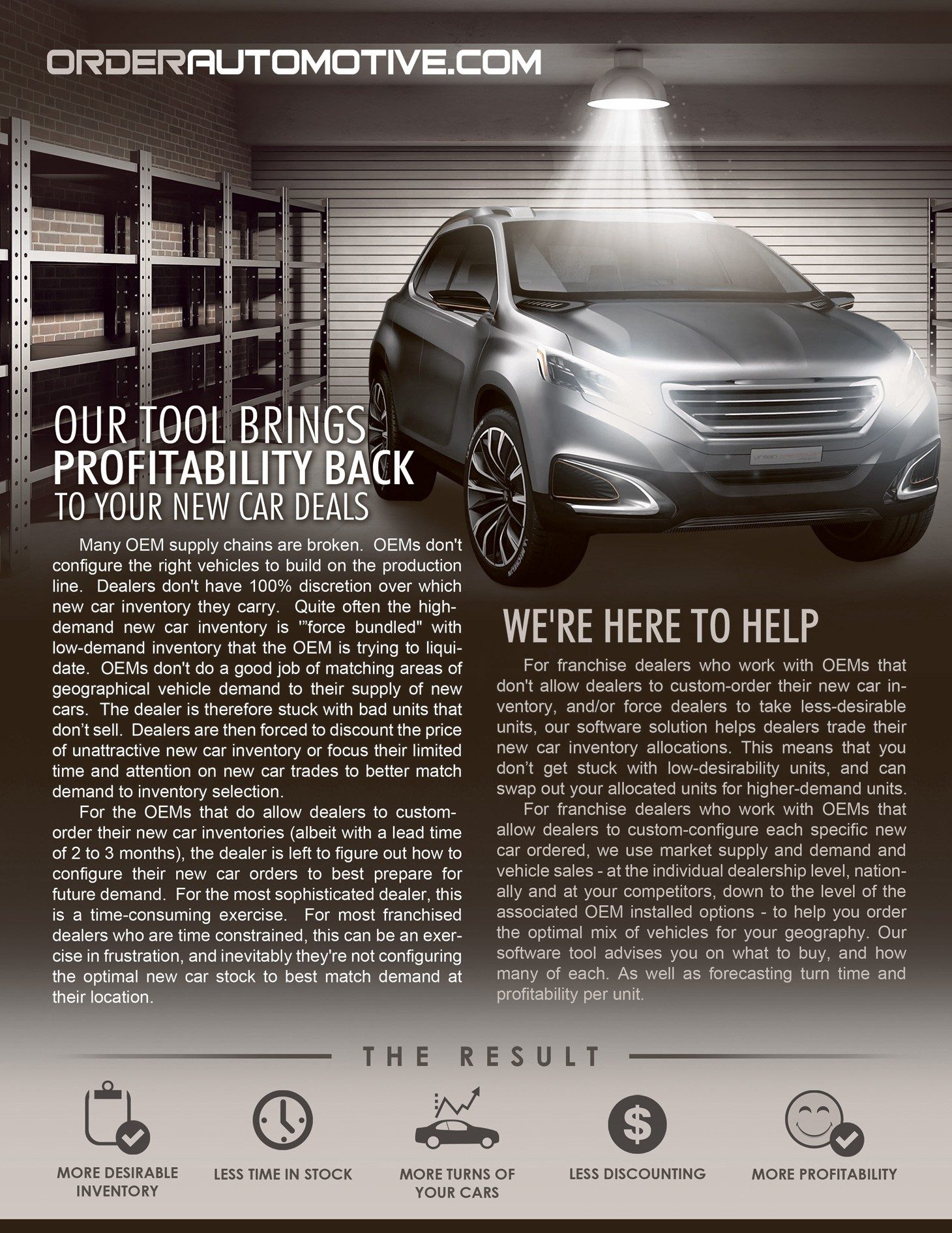 One-page brochure for new automotive product