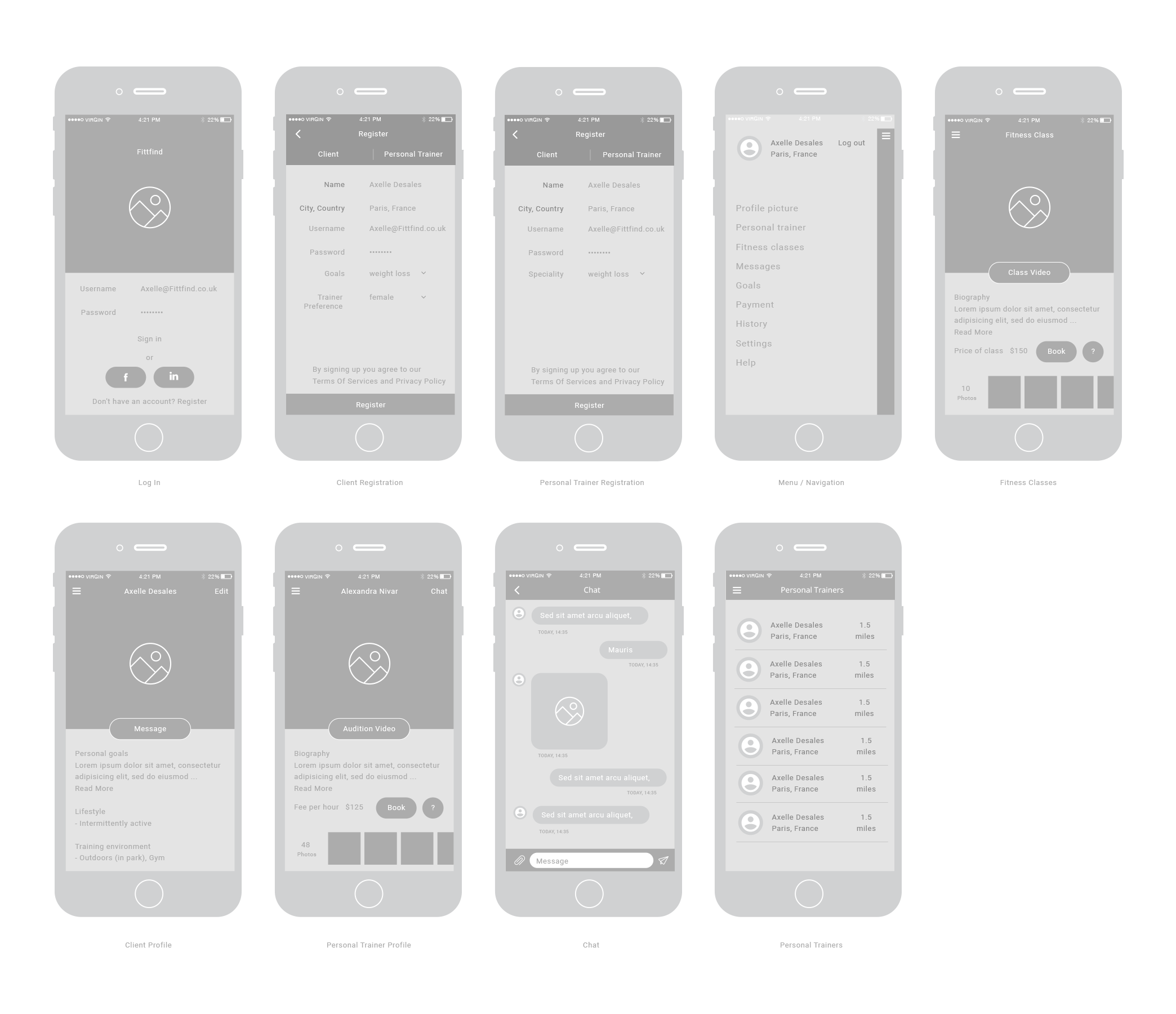 Your chance Create an eye catching app design which allows Personal trainers to be hired via the app