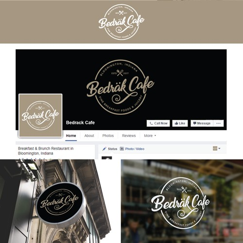 A badge type logo of Bedrack Cafe...