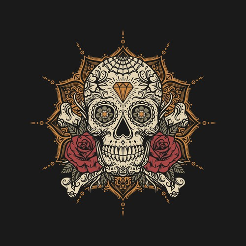 Sugar Skull with mandala Jacket design