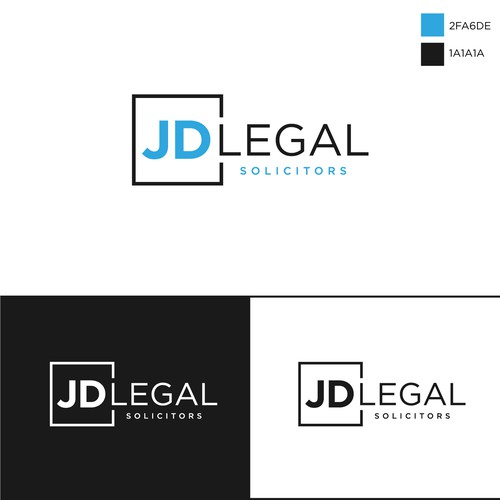Simple, clean and professional logo for JD Legal solicitors.