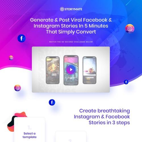 Landing page for Saas social media platform