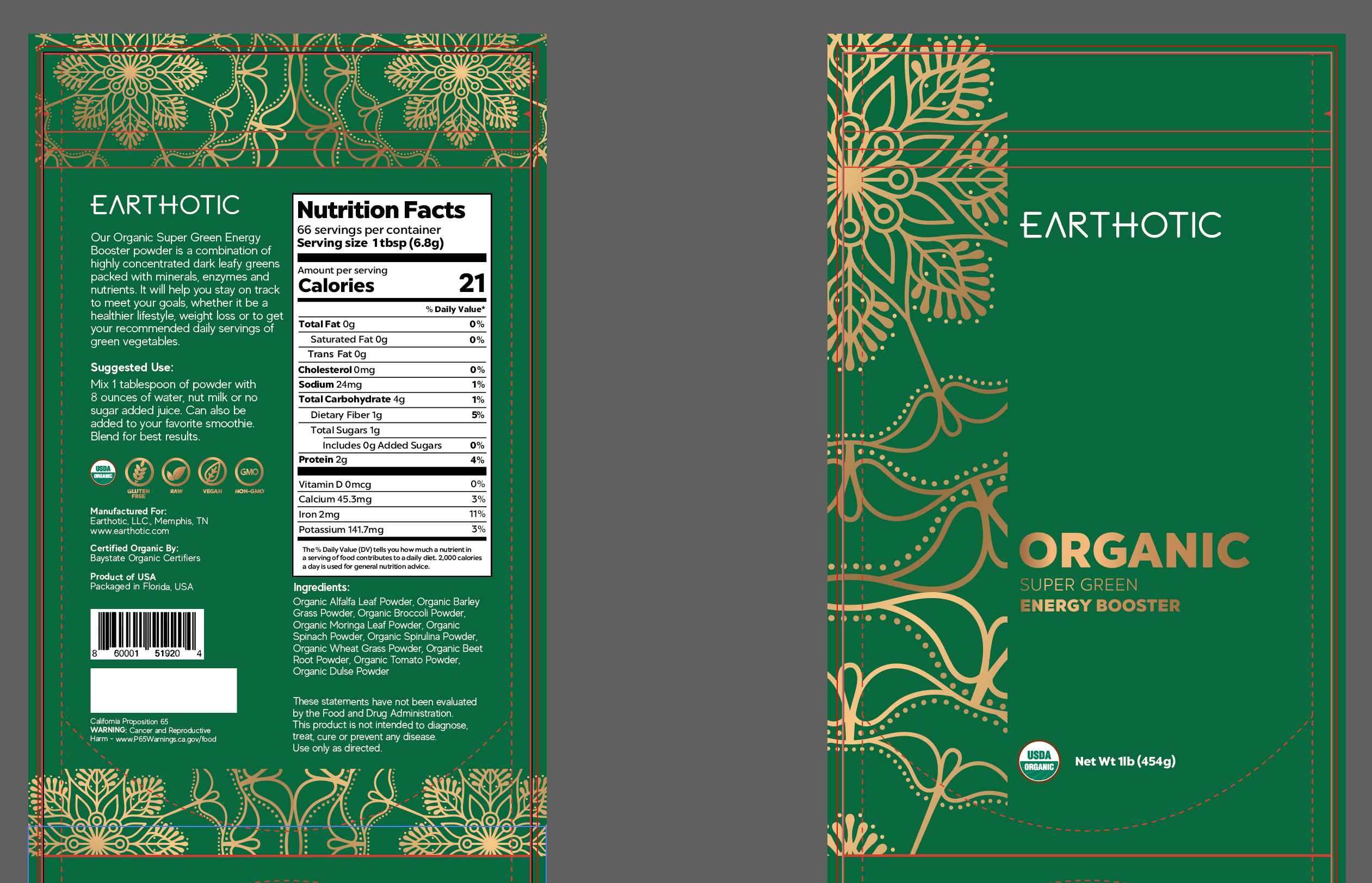 Create an Energetic Upscale Design for Organic Supplements