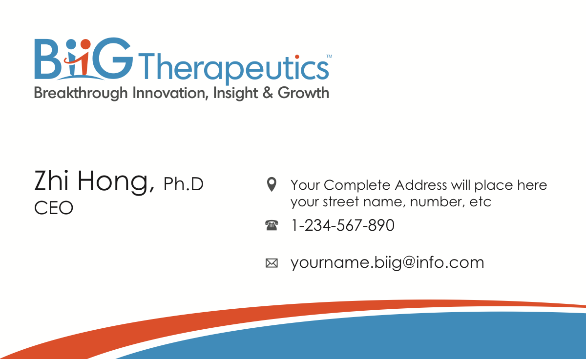 Business card design for BiiG Therapeutics