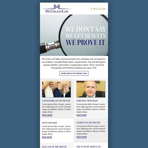Newsletter re-design for personal injury lawyer