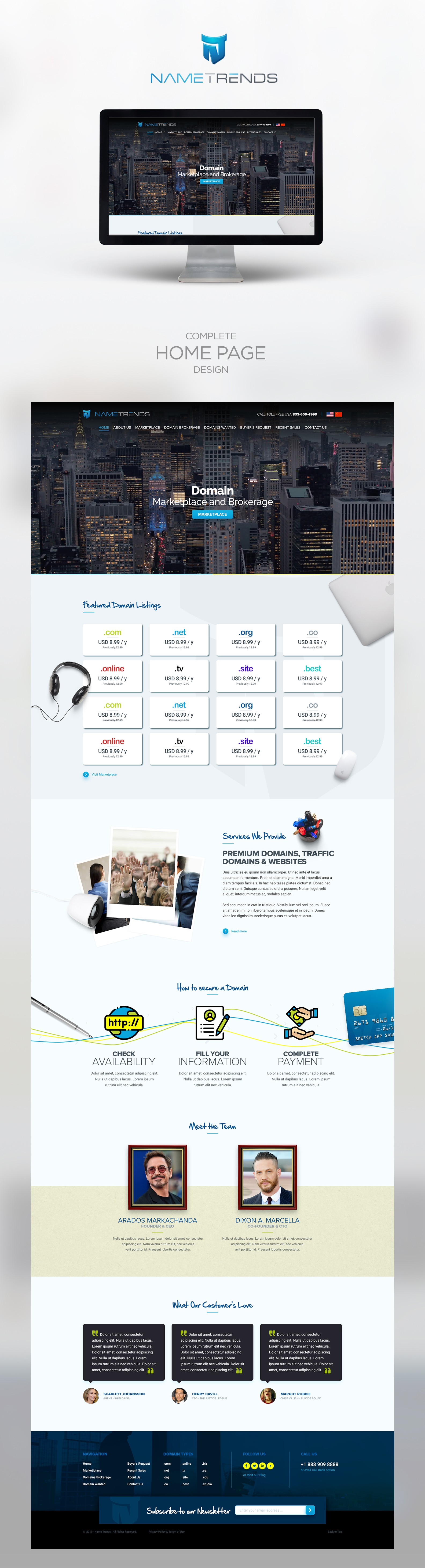 Home Page and Logo for my Domain Marketplace