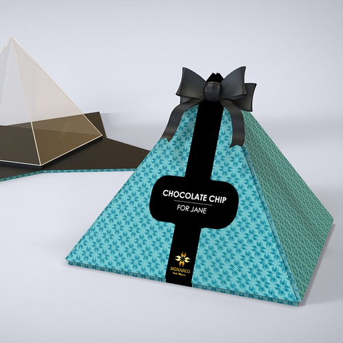 Innovative Design of a high-end cookie box with eye-catching style and typography for a startup