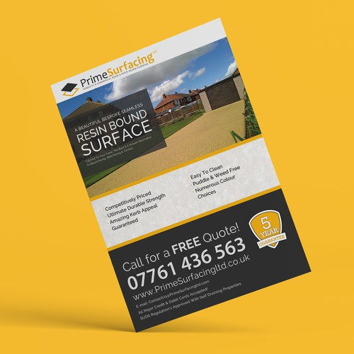 Leaflet for the resin surface company.
