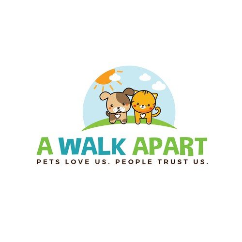 Cute, fresh and fun logo for the dog walking company