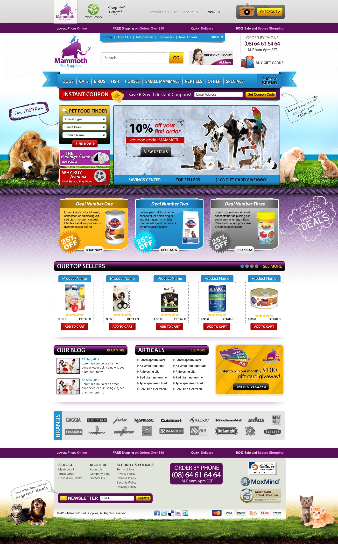 Graphical Website Brand Redesign for Mammoth Pet Supplies