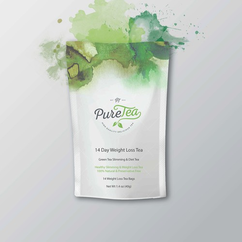 PureTea needs a beautiful package to hold 14 days of Weight Loss Tea