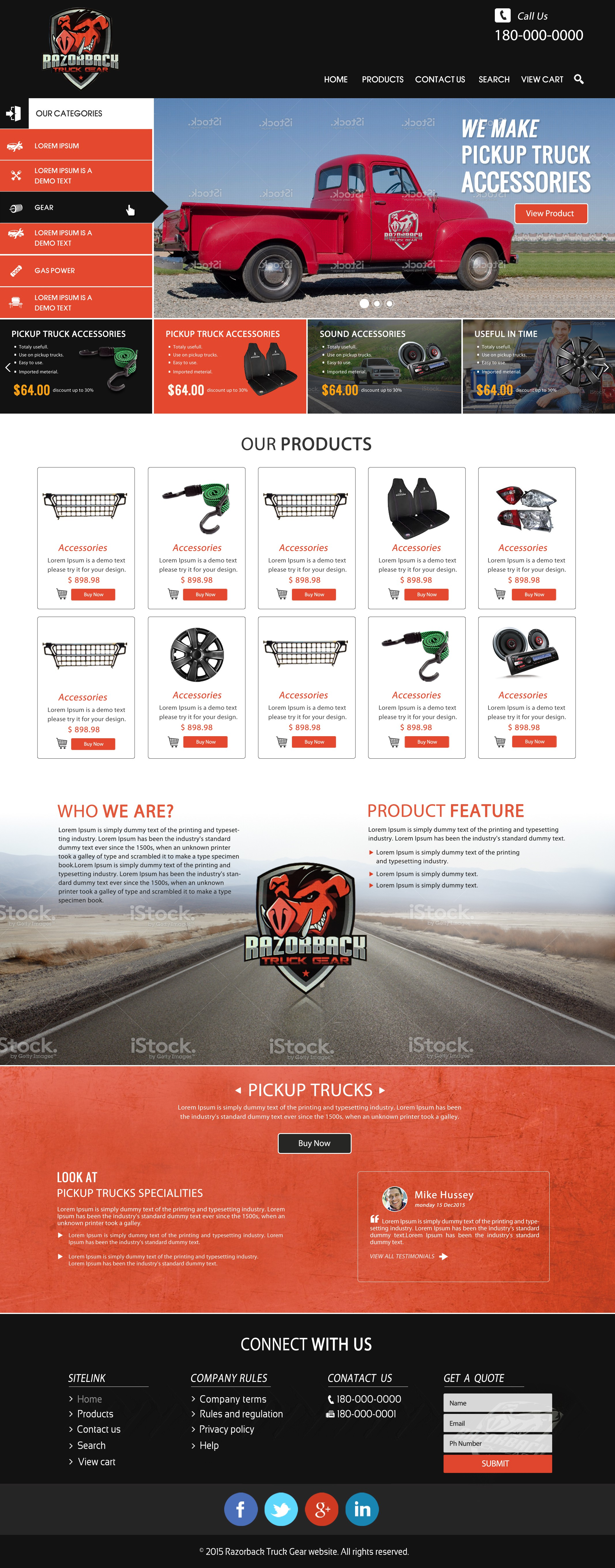 Create an amazing web presence for Razorback Truck Gear.