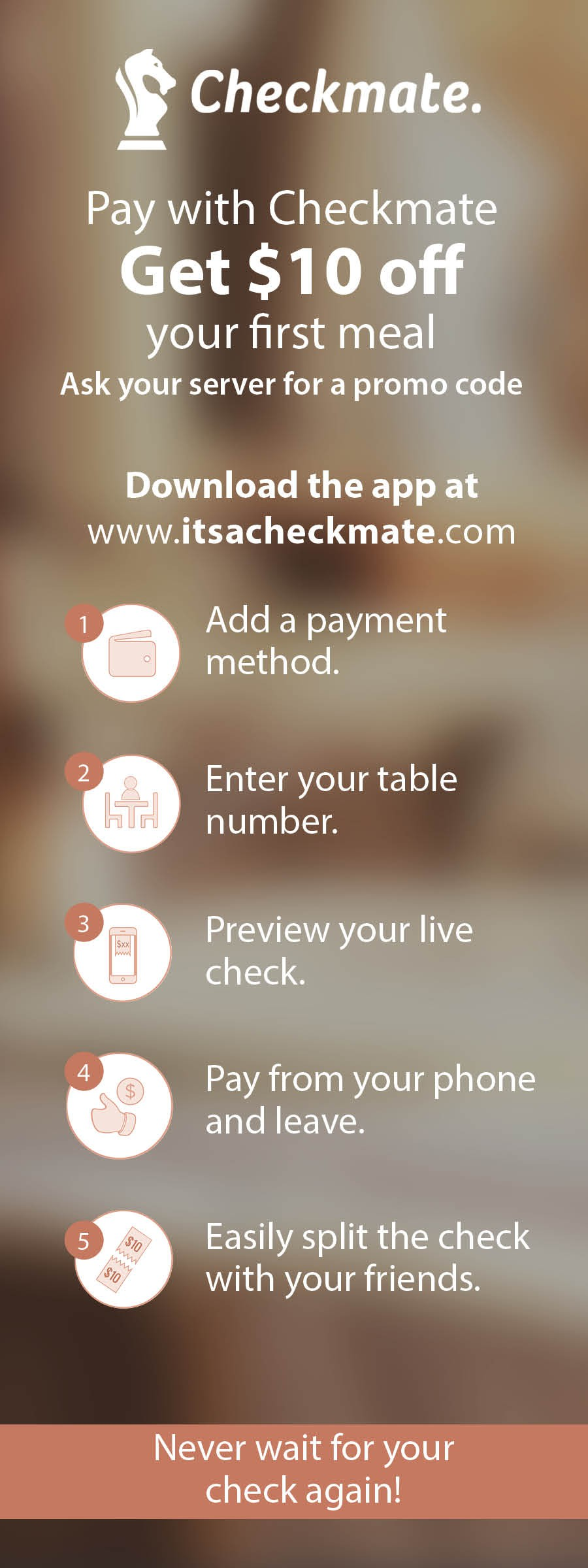 Restaurant flyer and check insert