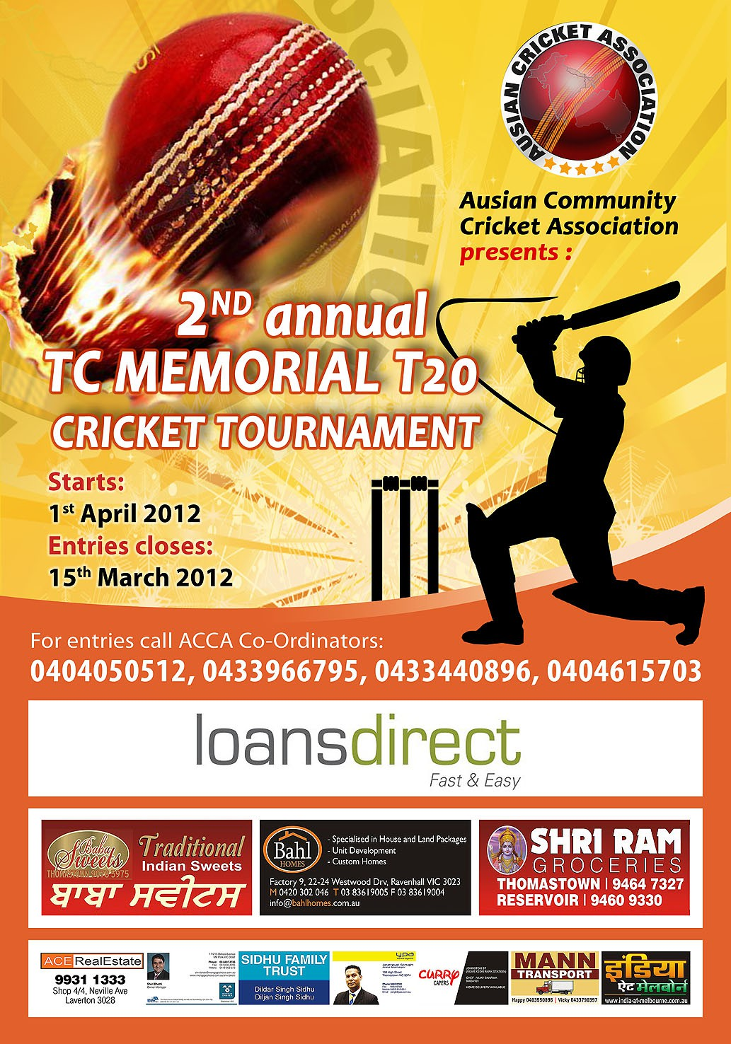 Help Ausian Community Cricket Association with a new print or packaging design