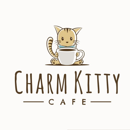 Cute Logo for Charm Kitty Cafe