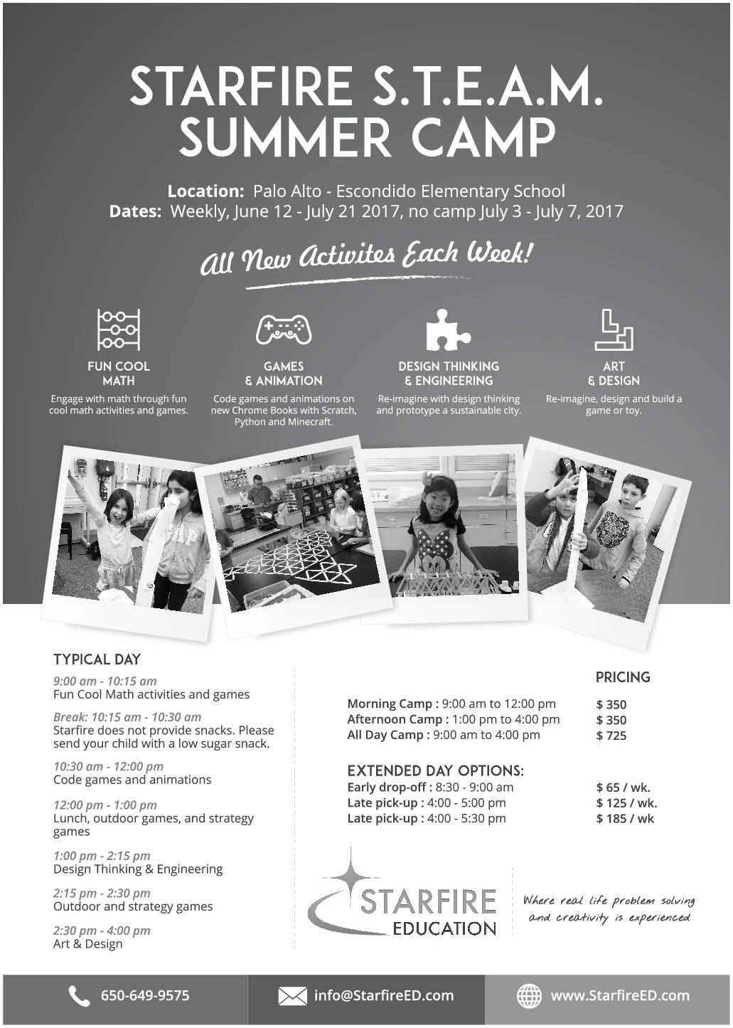 Flyer for fun S.T.E.A.M. (Science, Technology, Engineering, Art, Mathematics) Summer Camp