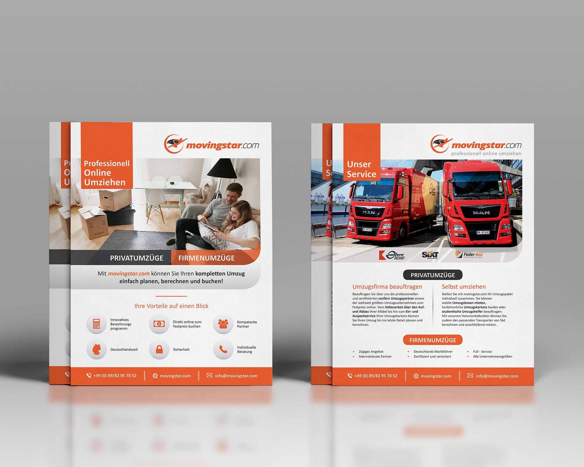 Create a flyer for a leading online moving service