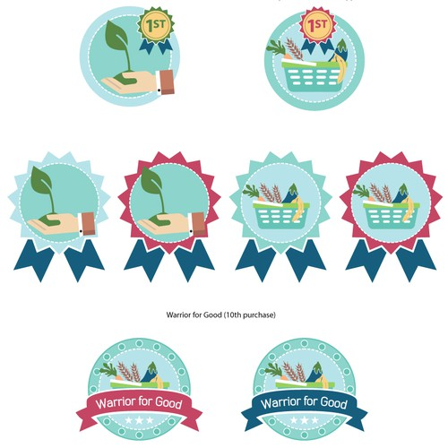 Gamification badges for shopping loyalty program.