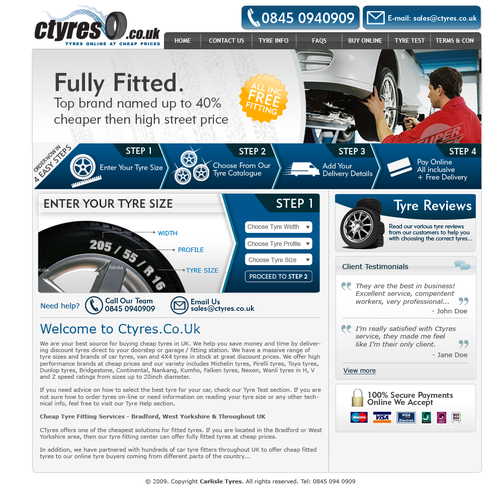 Ctyres.co.uk homepage re-design