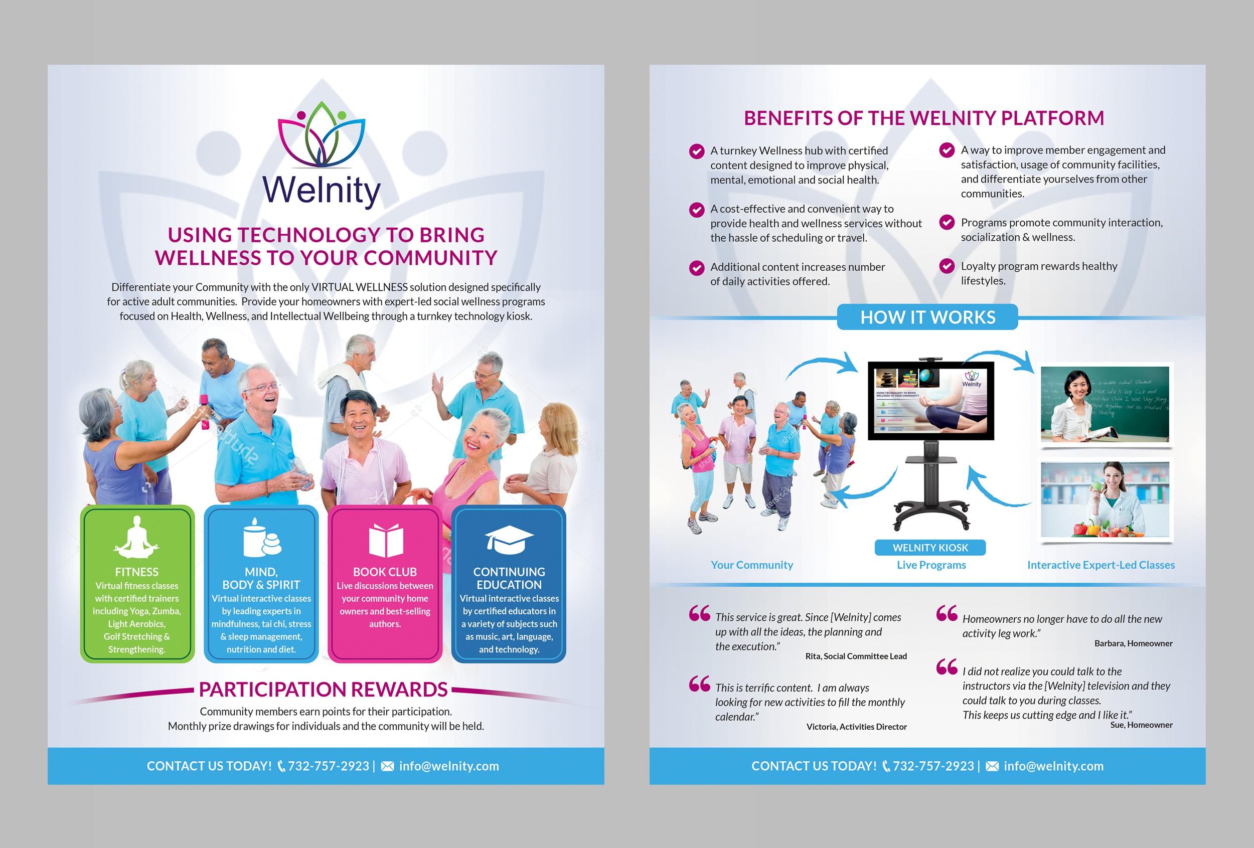 Innovative Wellness company seeks 2-page sales sheet