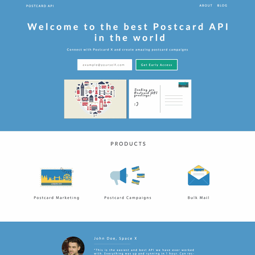 Create an amazing Landingpage - Postcard API for Marketing Experts
