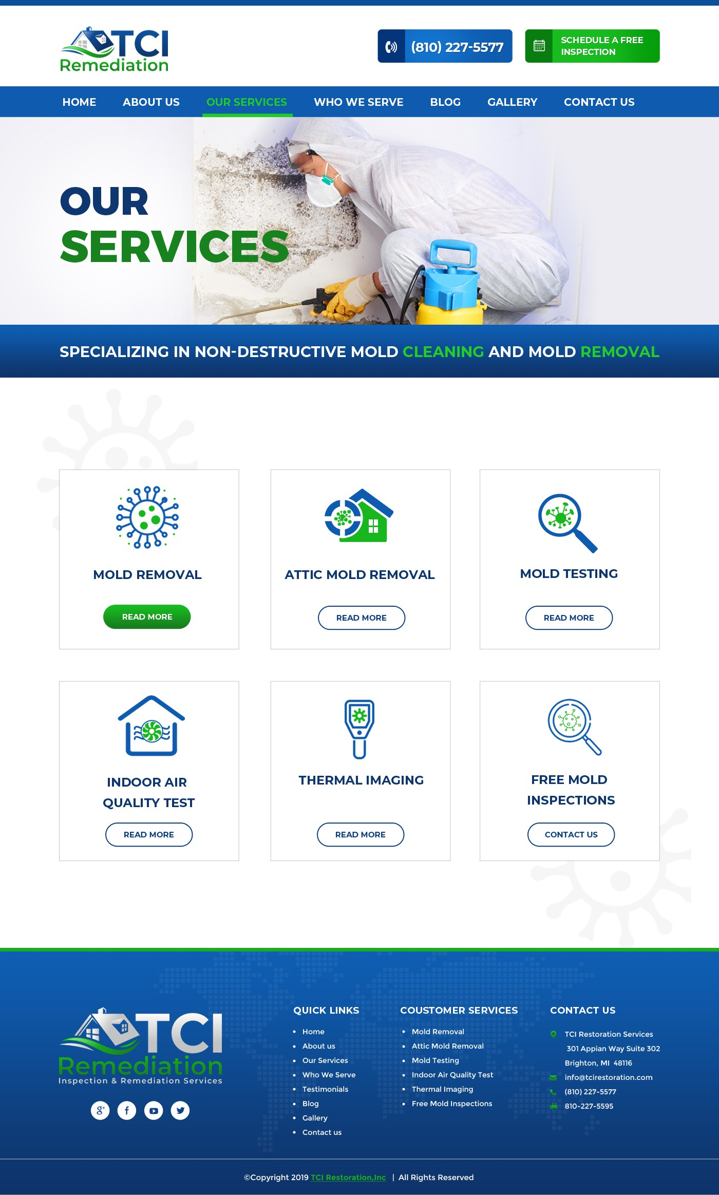 TCI Remediation website design for a mold inspection and remediation service company