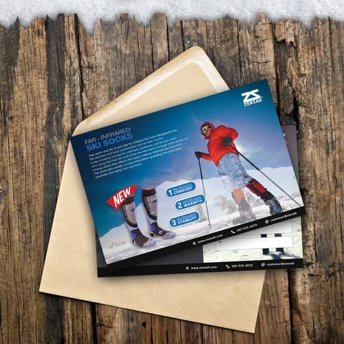 Ski socks postcard design