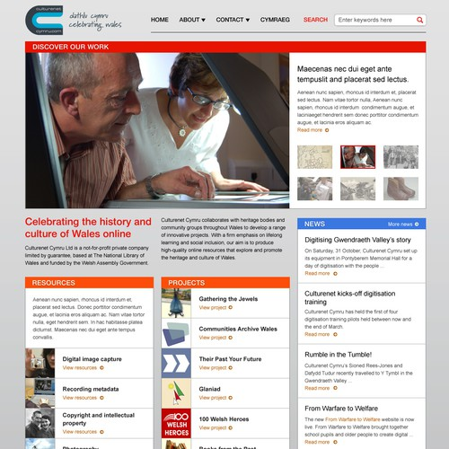 Culture net: home page redesign