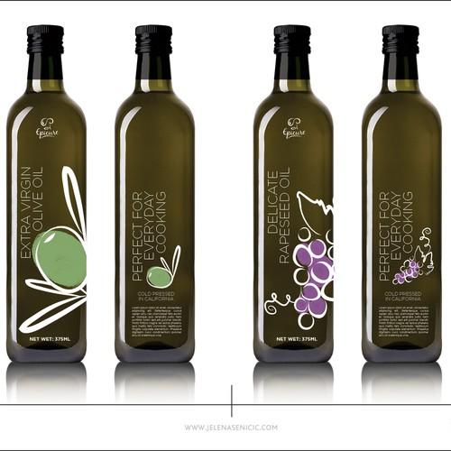 Olive and grape oil label design