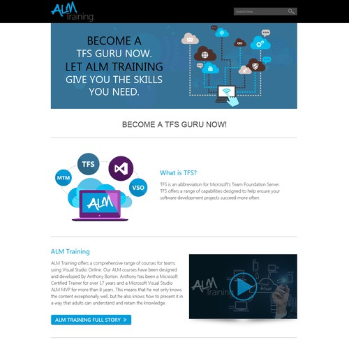 Create a landing page for an IT training company.