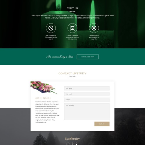 Landing page design for Livetuity