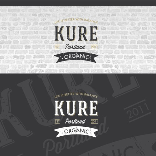 Create an Iconic Americana logo for KURE Juice. Please do not use our current logo!