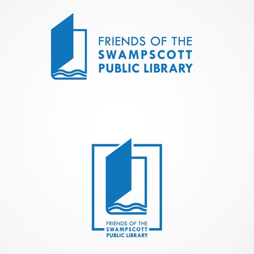 Modern logo concept for a public library in a seaside town