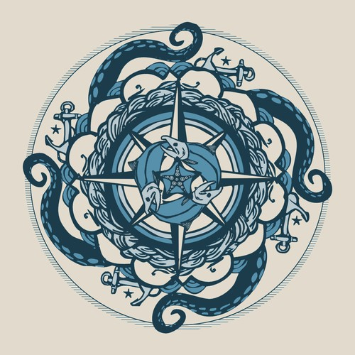 Nautical Mandala for T-Shirt